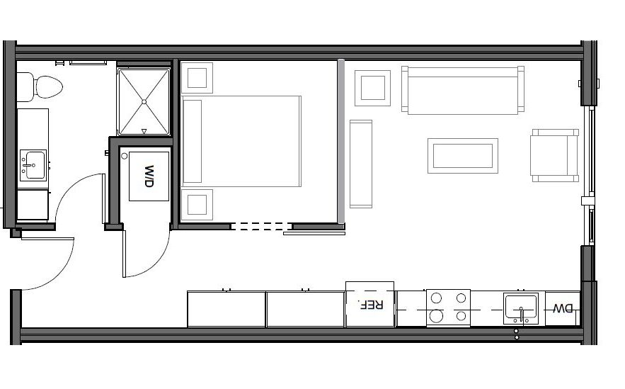 URBAN 1 BD, 1 BA – C Floor Plan