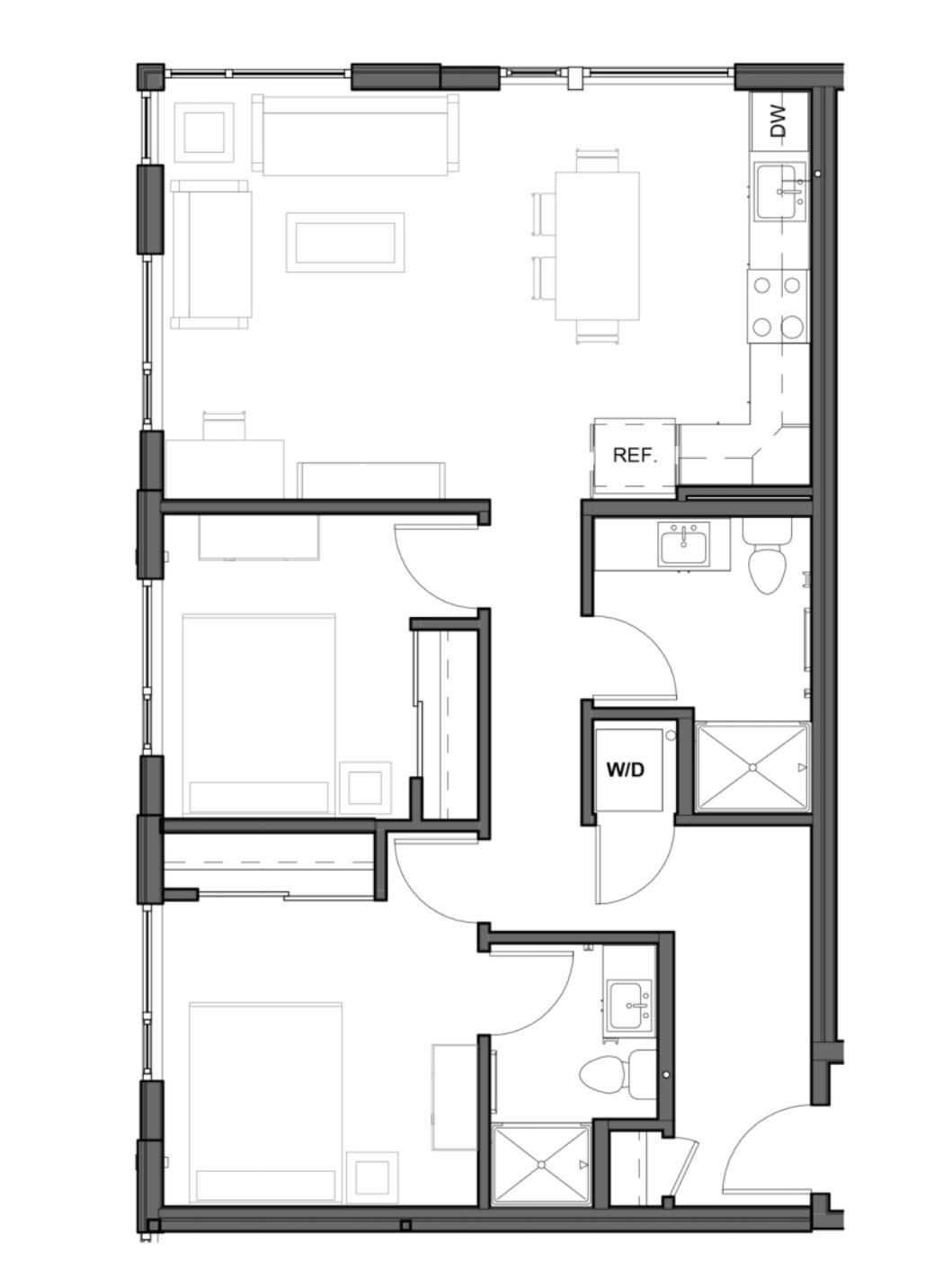 2 BD 2 BA – D Floor Plan