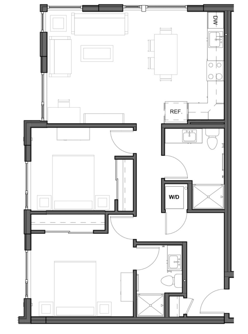 2 BD 2 BA – D2 Floor Plan