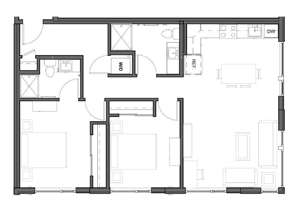 2 BD 2 BA – D3 Floor Plan