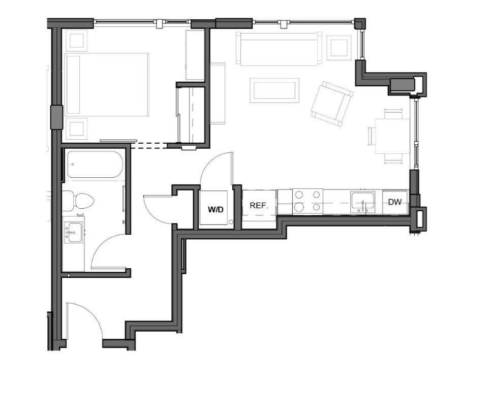 1 BD 1 BA – B2 Floor Plan