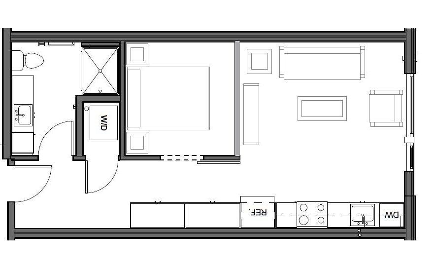 URBAN 1 BD, 1 BA – C Floor Plan