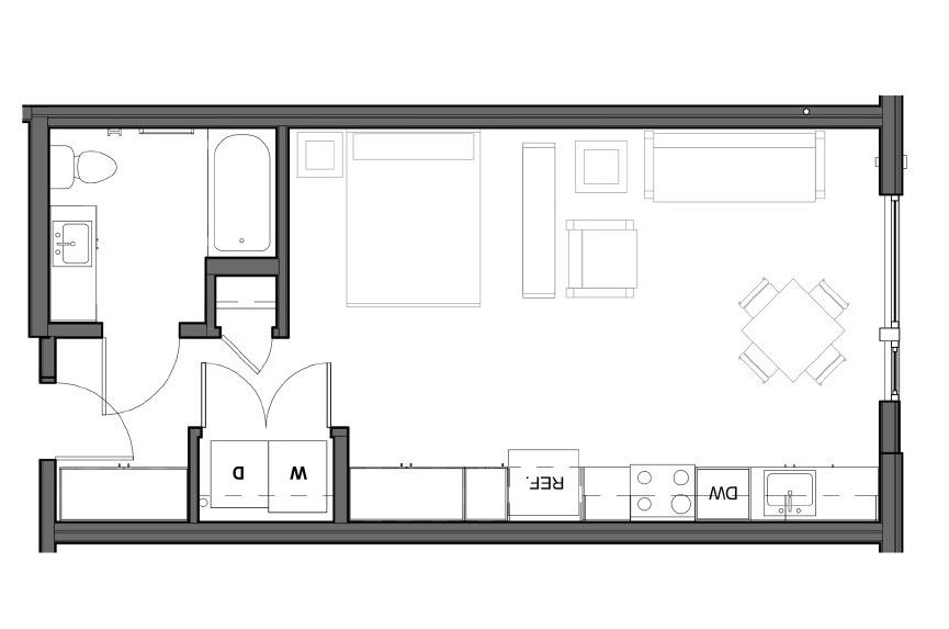 STUDIO – 1 BA – C (Type A) Floor Plan