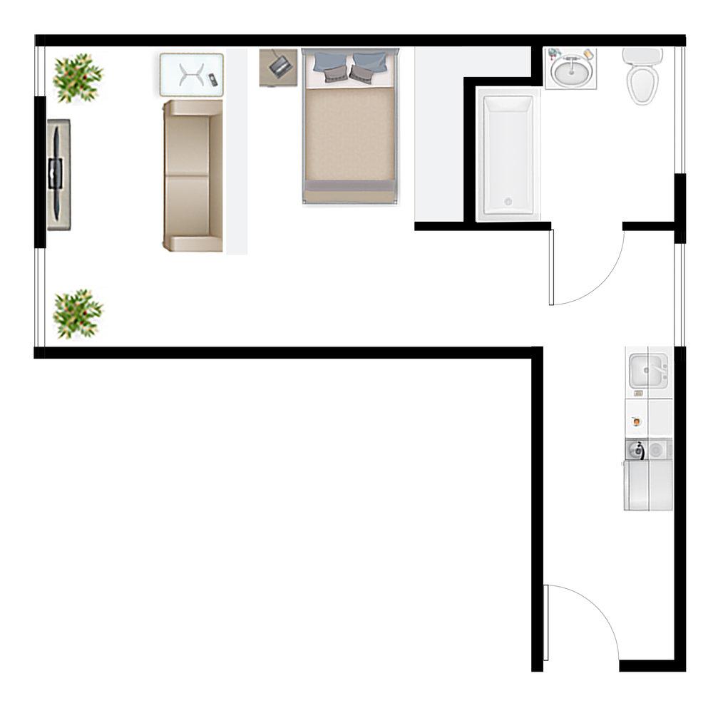 Studio 1.6A Floor Plan