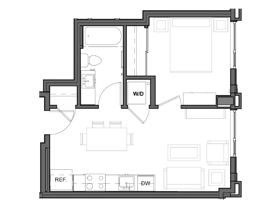 1 BD 1 BA – B1 Floor Plan