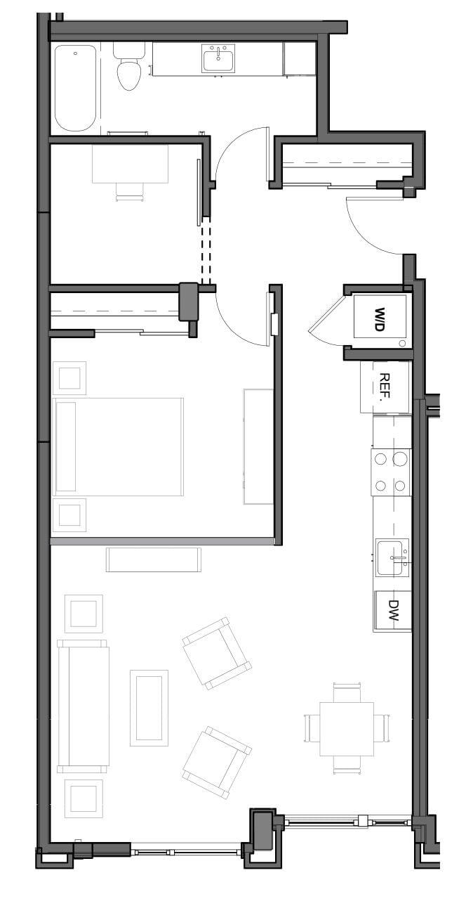 1 BD 1 BA + DEN – A Floor Plan