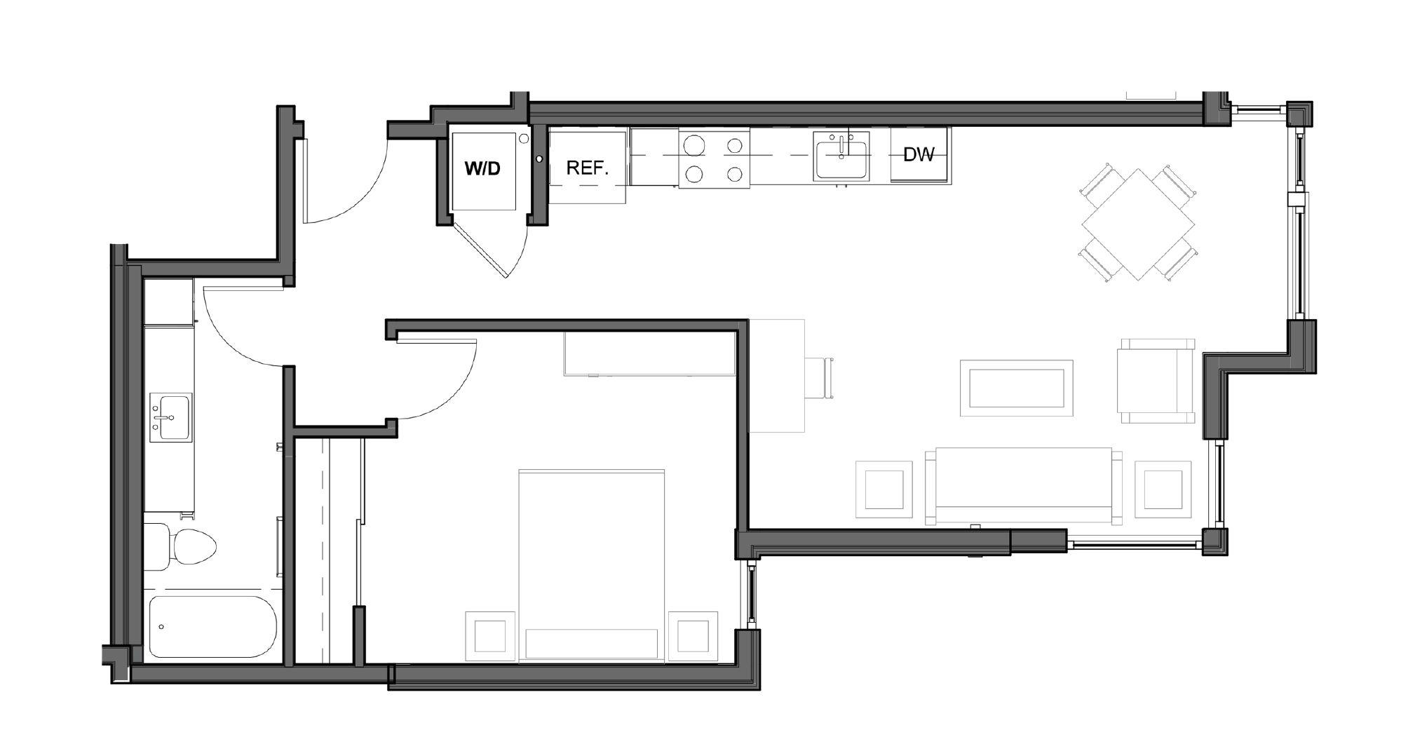 1 BD 1 BA – F Floor Plan