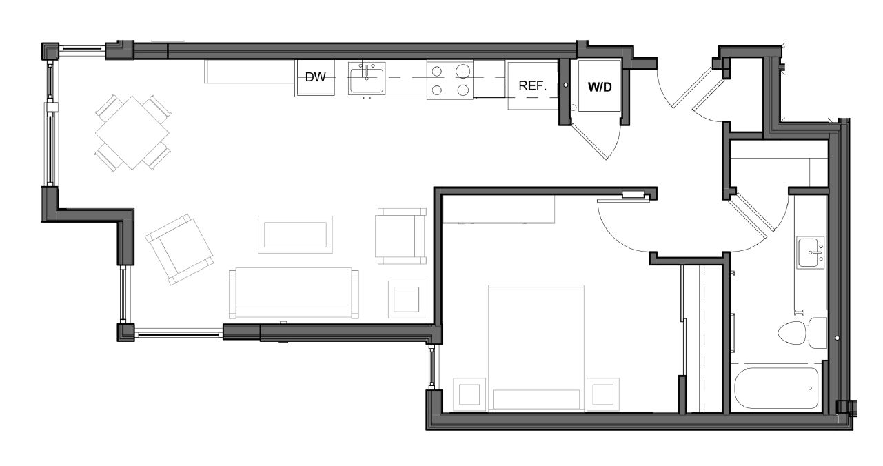 1 BD 1 BA – E2 Floor Plan