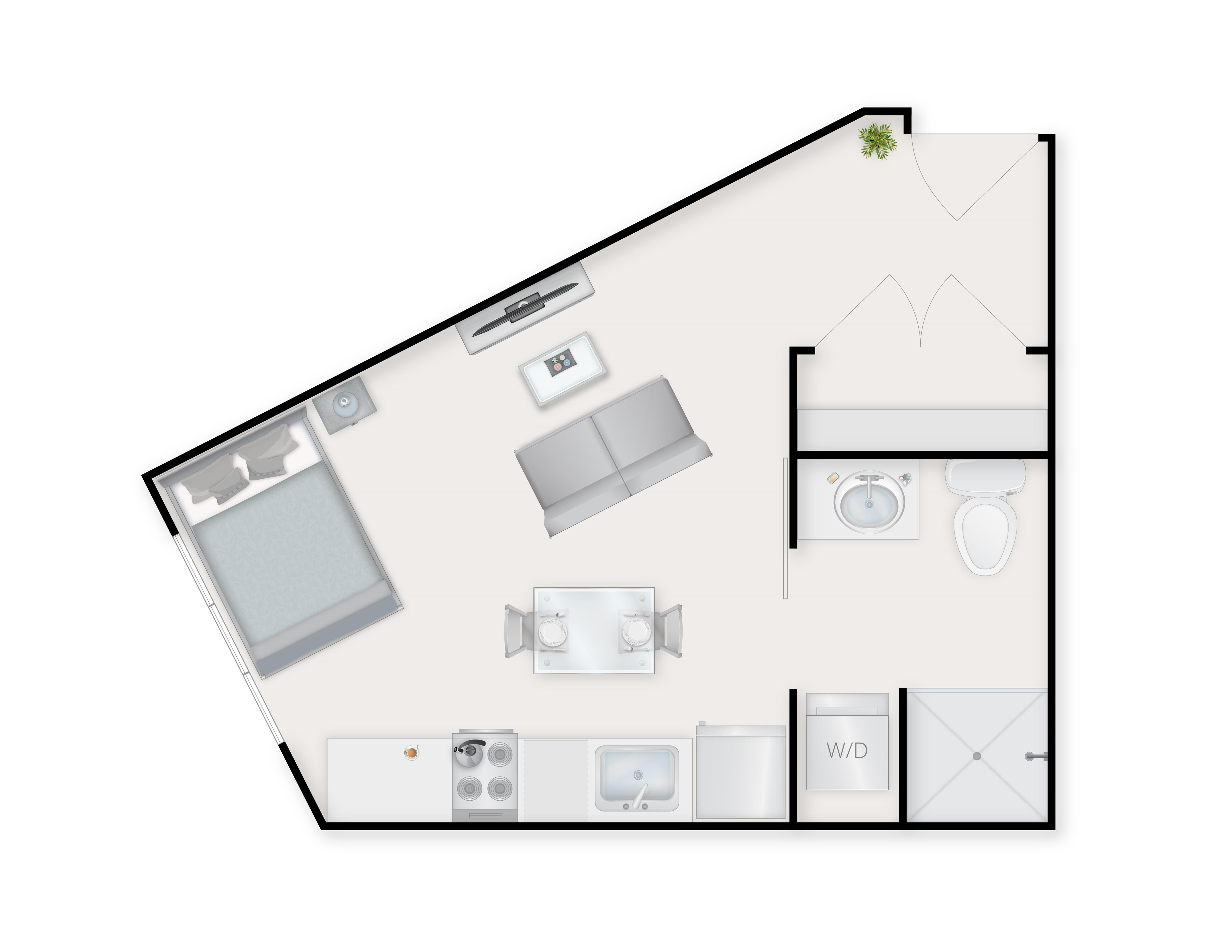 Studio E Floor Plan