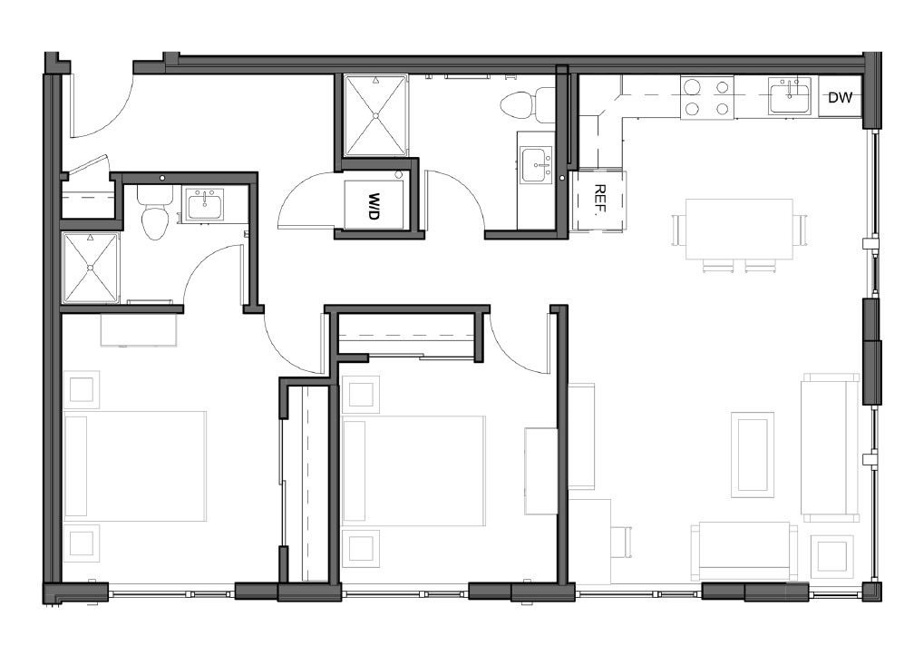 2 BD 2 BA – D3 Floor Plan