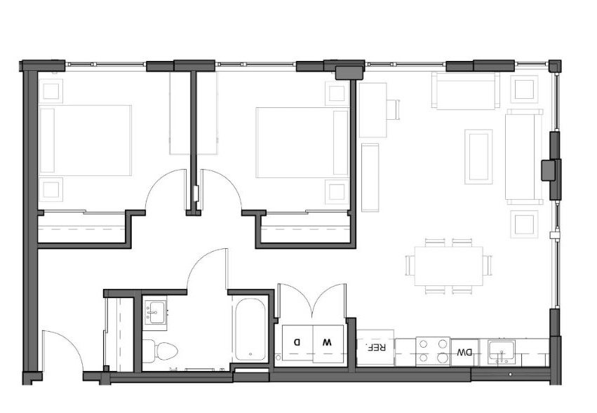2 BD 1 BA – D (Type A) Floor Plan