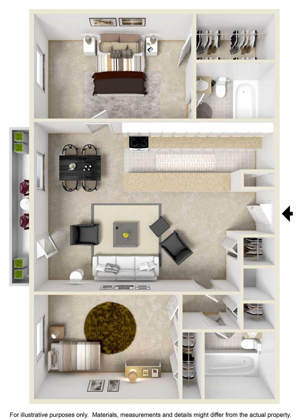 2 Bedroom / 2 Bathroom Floorplan