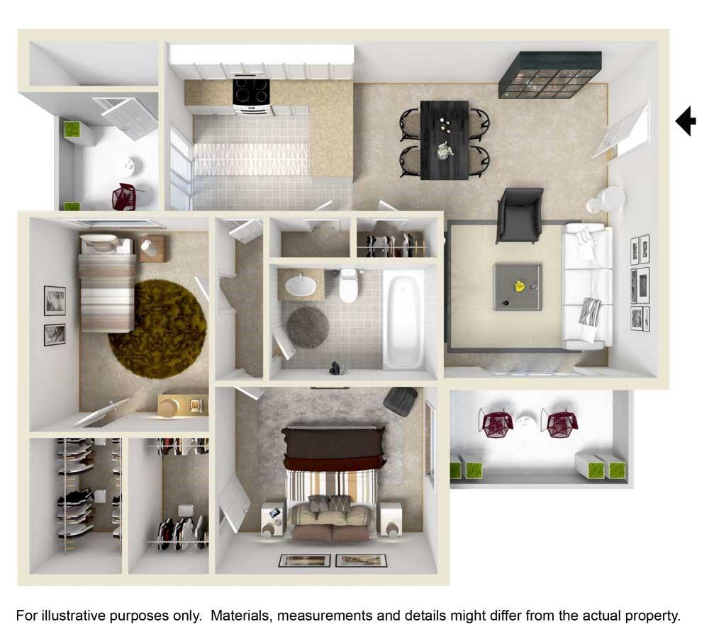2 Bedroom / 1 Bathroom Floorplan
