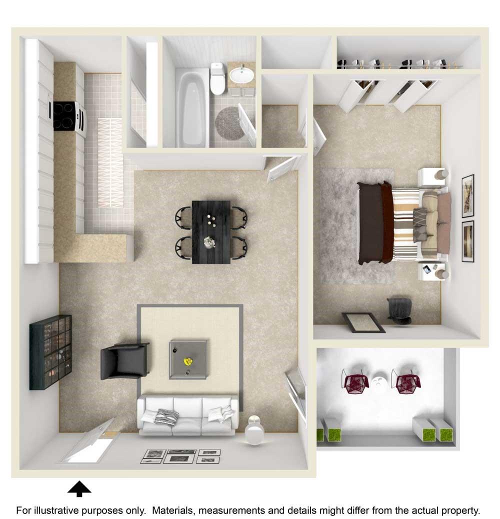 1 Bedroom / 1 Bathroom Floorplan