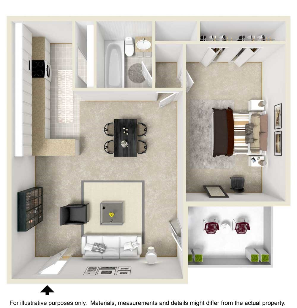 1 Bedroom / 1 Bathroom Floorplan